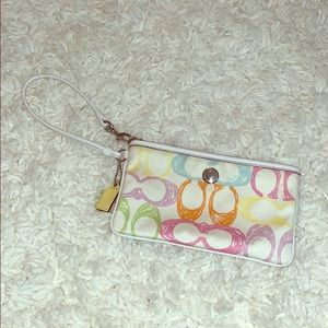 White & colorful coach wristlet